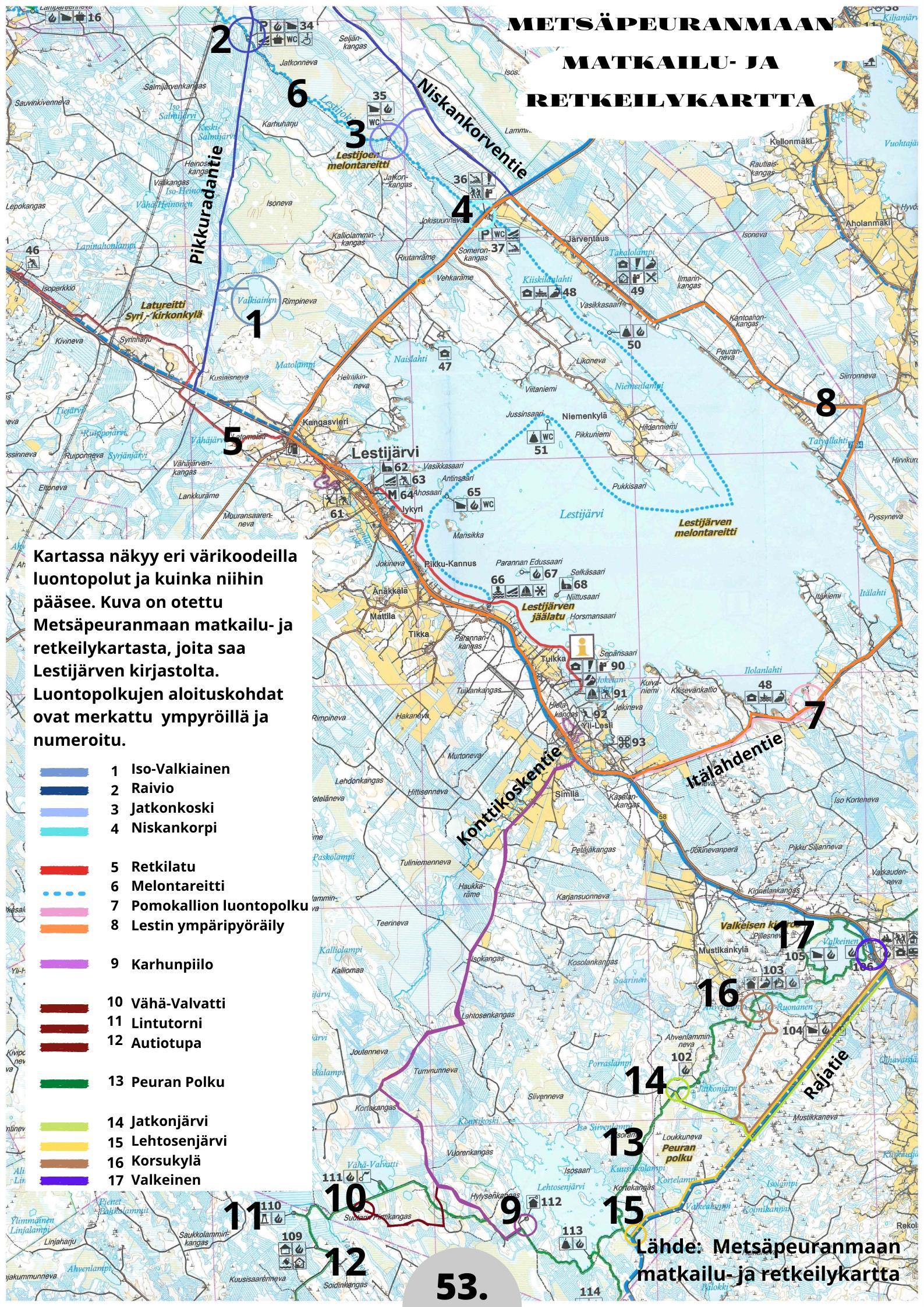 Lestijärven retkeilykohteiden kartta.